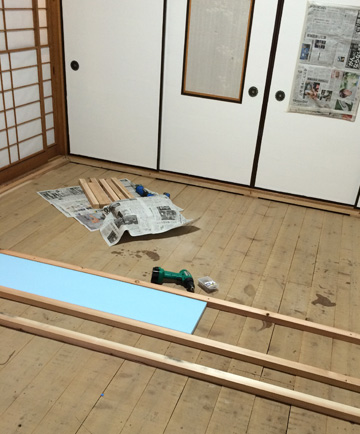 DIY ふすま フローリング
